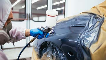 auto body painting a car